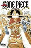 """One pièce T2, Eiichiro Oda : """"Luffy fait la connaissance de Nami, une ravissante jeune fille maîtrisant la navigation. Seulement, Nami déteste les pirates et refuse d'entrer dans son équipage. Pire, elle fait prisonnier Luffy, pour le livrer au terrible… Baggy le clown !"""" [résumé frac.fr]"""