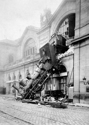 """The famous """"Oops"""" photo, well known on the internet was a loco and train No56, that had a failure of it's Westinghouse compressed air brake, and broke through the wall of Montparnasse station, and fell onto the Place de Rennes, in Paris, on October 24, 1895."""