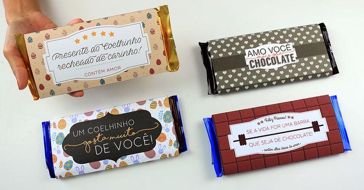 Rótulos de barra de chocolate personalizadas para a Páscoa!