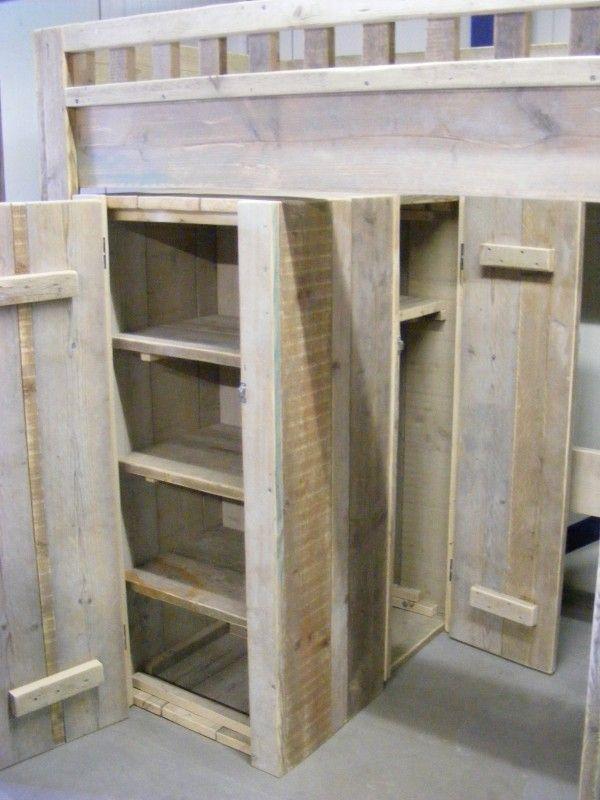 Hoogslaper bureau Kledingkast steigerhout (1290300180HT) | Half - Hoogslapers | JORG`S Houten Meubelen