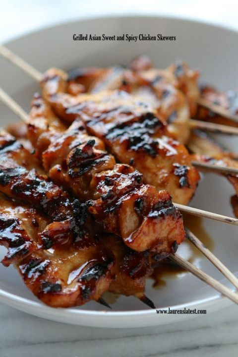 Grilled Asian Sweet and Spicy Chicken Skewers