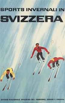 vintage ski poster. SPORTS INVERNALI IN SVIZZERA 1931.  Alex Walter Diggelmann