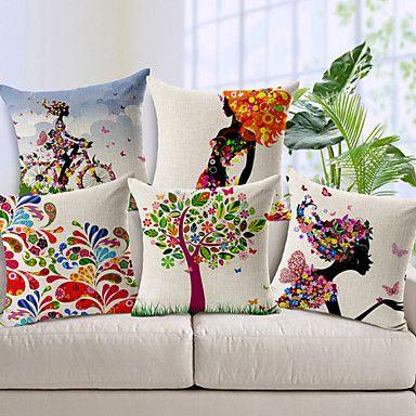 juego de 5 patrón de colores de algodón / lino cubierta decorativa almohada – MXN $ 1,183.53