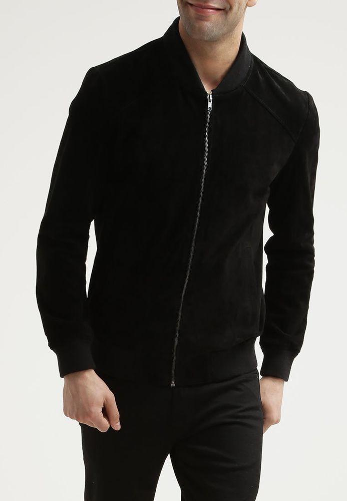 Bomber/Flight Suede Black Leather Jacket New Mens Slim fit Size XS S M L XL XXL #Zakiz #FlightBomber