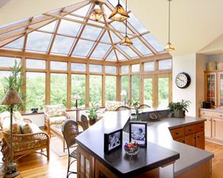 62 best sunrooms images on pinterest log houses slab for Kitchen with sunroom attached