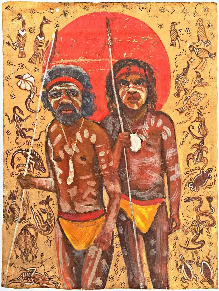 Vintage Painting on canvas of Aboriginal Corroboree Dancers with Spears
