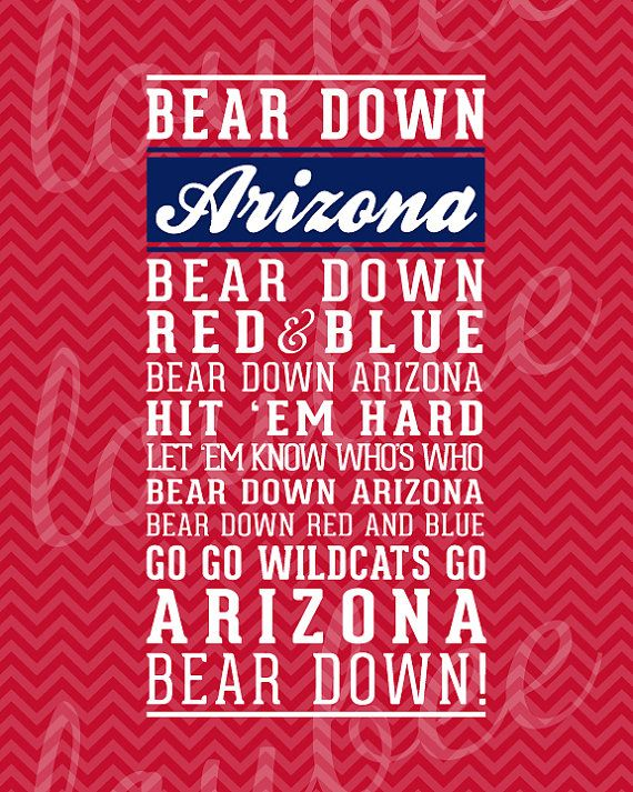 Arizona Bear Down Fight Song Print University of by LoubeeDesigns