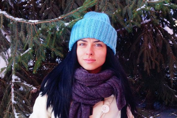Blue Winter Hat Slouchy Hat Blue Womens hat Slouchy by KvitkaShop