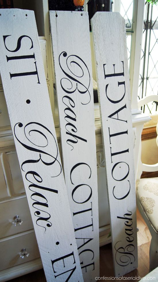 Sign made from old fence pickets from Confessionsofaserialdiyer.com