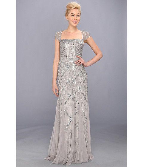 Adrianna Papell Cap Sleeve Bead Dress Platinum - Zappos.com Free Shipping BOTH Ways - $338, slightly darker color than shown