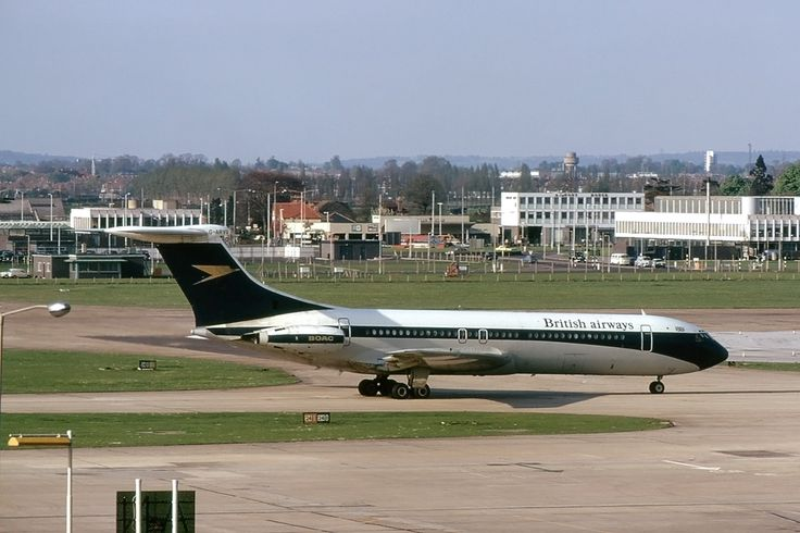 British Airways ('BA') Vickers Standard VC10 (Series 1100) G-ARVG (c/n: 809) at London's Heathrow Airport (LHR), circa 1974. Please note that the aircraft is still wearing the BOAC Golden Speedbird livery, but with BA titles.