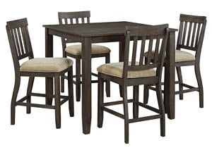 Dresbar Grayish Brown Square Dining Room Counter Table w/4 Upholstered Barstools, /category/dining-room/dresbar-grayish-brown-square-dining-room-counter-table-w-4-upholstered-barstools.html