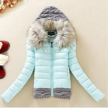 2016 Women Winter Coat Cotton Padded Jacket Short Knitted Hood Fur Collar Womens Winter Jackets and Coats