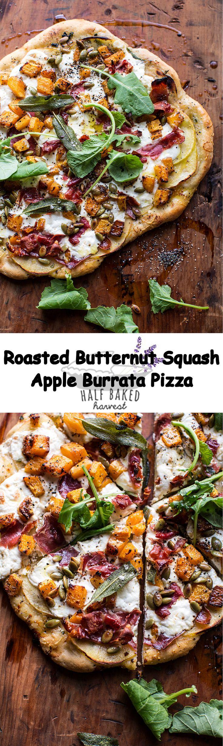 Roasted Butternut Squash Apple Burrata Pizza | halfbakedharvest.com @hbharvest
