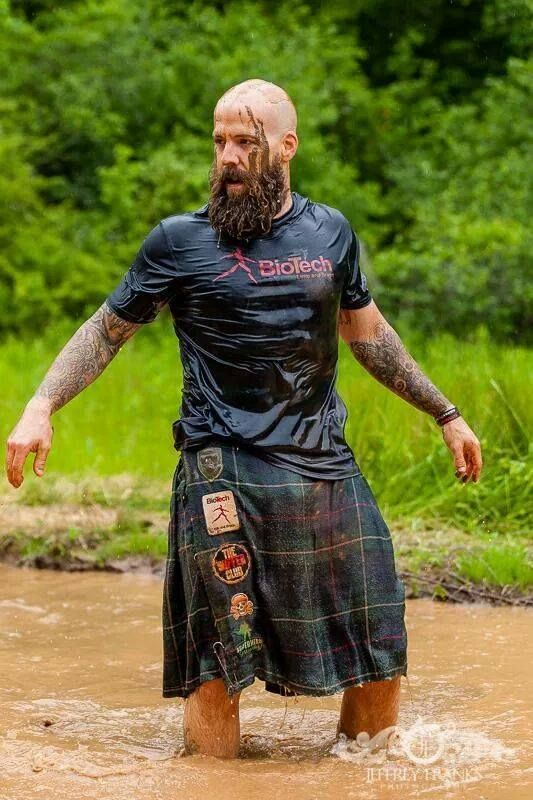 Kilted and bearded Spartan Race guy