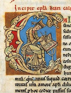 Initial capital letter C with Pope Callistus II in the act of writing, miniature from the Calixtinus Code, manuscript folio 1 recto, 12th Century.