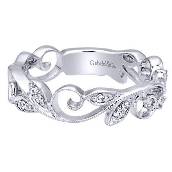 Gabriel 14K White Gold Vintage Style Stackable Floral Leaf Ring Featuring 0.09 Carat Diamonds at Ben Garelick Jewelers, Buffalo, NY 14221. Style LR5197M45JJ