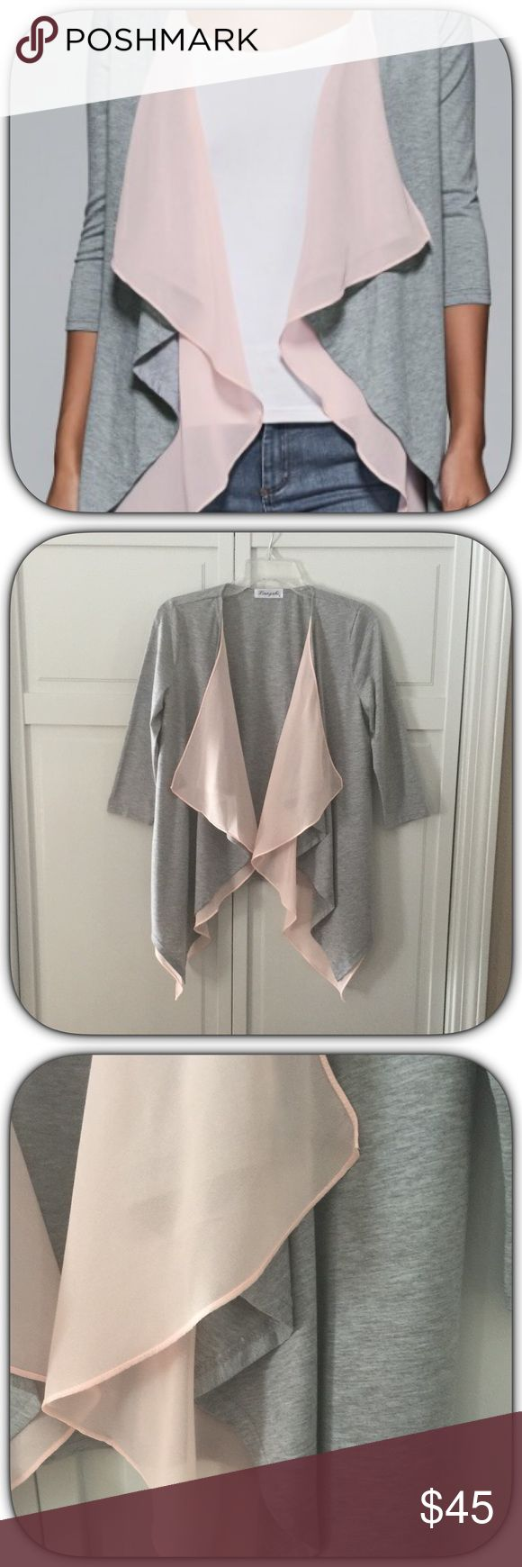 NWT Cute Gray/Pink Layered Jersey/Chiffon Cardigan This is so soft and feminine! I was really disappointed it did not fit me right! It is really beautiful! A move closet piece for sure! The tag says large but fits like a medium Boutique Sweaters Cardigans