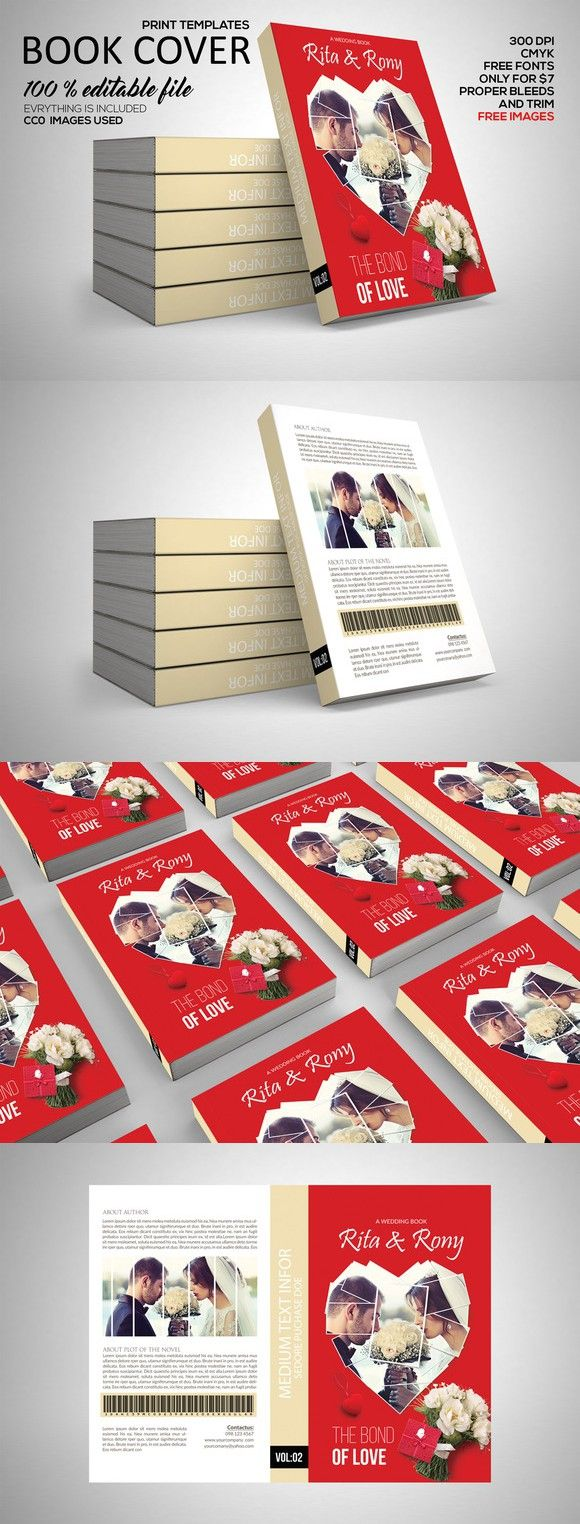 Wedding Book Cover Print Template. Stationery Templates. $7.00