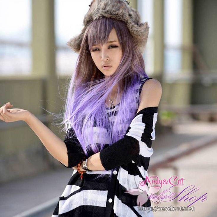 ウィッグ・かつら・耐熱・なみなみロングウィッグ・フルウィッグ・新型wig・グラデーションロングヘアストレート・キャラクター専用・原宿系・紫 JF023