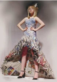 paper crane dress by Yuliya Krypo made out of Metro newspapers