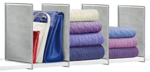 Lynk Vela Shelf Dividers (Set of 4) - Closet Shelf Organizer - Platinum
