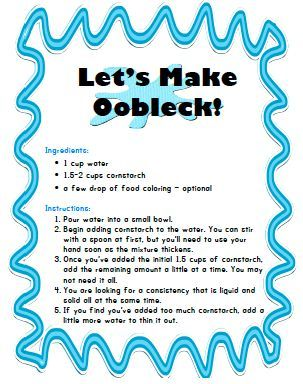 Lets Make Oobleck!!! Printable recipe for making your own squishy fun!!: