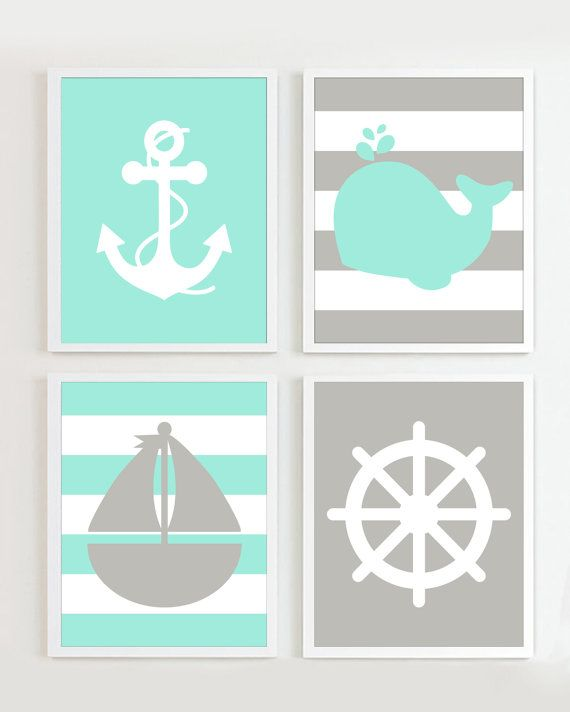 Nautical Prints - Teal Grey set of 4 - Beach Ocean Sea more colors available