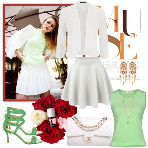 Apple green by milkalilien on Polyvore featuring Rossopuro, maurices, Nine West, Chanel and Vince Camuto
