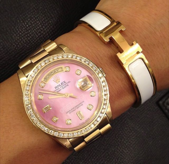 Rolex Oyster Perpetual Datejust with pink face