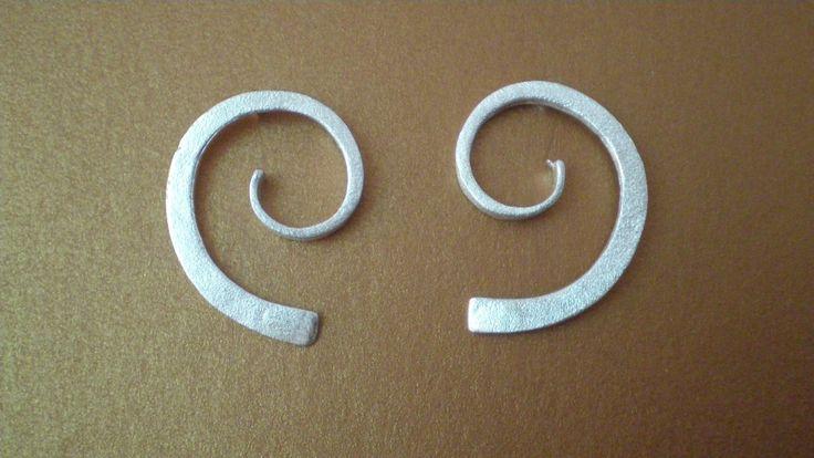 Handmade Silver Earrings in the Shape of a Spiral by IoJewellery on Etsy