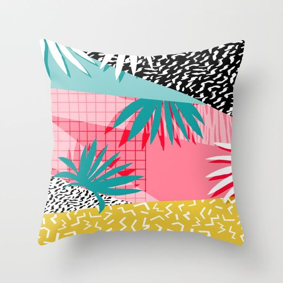 Bingo - throwback retro memphis neon tropical socal desert festival trendy hipster pattern pop art  Throw Pillow by Wacka | Society6