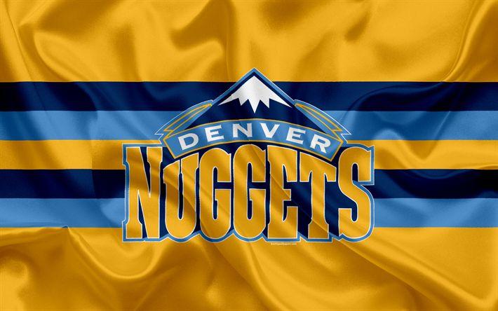 Download wallpapers Denver Nuggets, basketball club, NBA, emblem, logo, USA, National Basketball Association, silk flag, basketball, Denver, Colorado, USA basketball league, Northwest Division