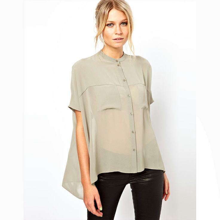 ABSOLUTELY GORGEOUS... LAILA is a sheer, woven, soft grey blouse with a buttoned front.