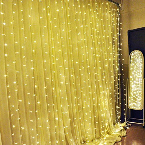 MZD8391 Led Window Curtain Icicle Lights 3m3m 300 led 8 Modes String Fairy Light Curtain String Fairy Lights for Home Garden Wedding Party Window Warm White-UL listed