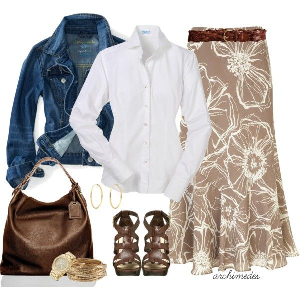 """""""Country Living"""" by archimedes16 on Polyvore - I never think to wear a white button up with my denim jacket. I think that will change this year."""
