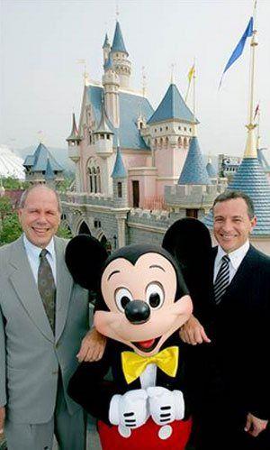 Michael Eisner, Mickey Mouse and Bob Iger at the  September 2005 grand opening of Hong Kong  Disneyland.