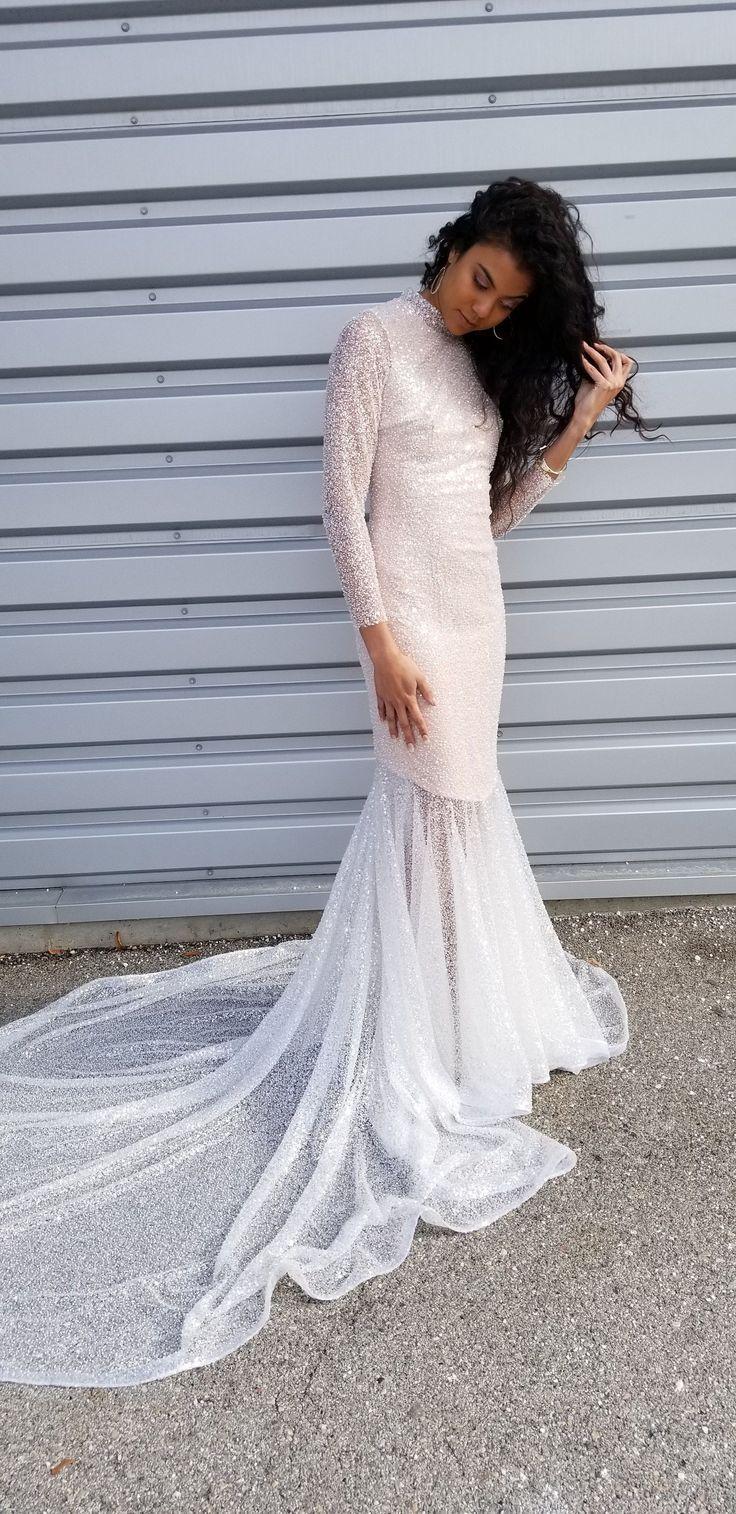 Modest Wedding Dress Beaded Bridal Gown Long Sleeve Wedding Dress Gla In 2020 Modest Long Sleeve Wedding Dresses Wedding Dress Long Sleeve Modest Bridal Gowns