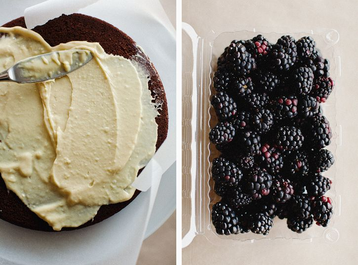 cocoa layer cake with mascarpone cream and blackberries via sprouted ...