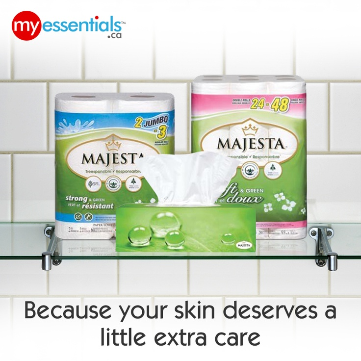 Get quality and softness from tissue without harming the environment!  Only with Majesta from MyEssentials!