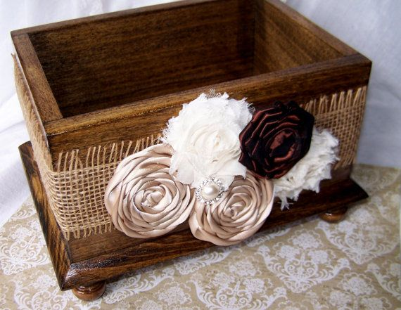 Wedding Card BOX - Shabby Chic, Burlap, Brown, Champagne and Ivory, Walnut Stained Wood Box, Custom colors available