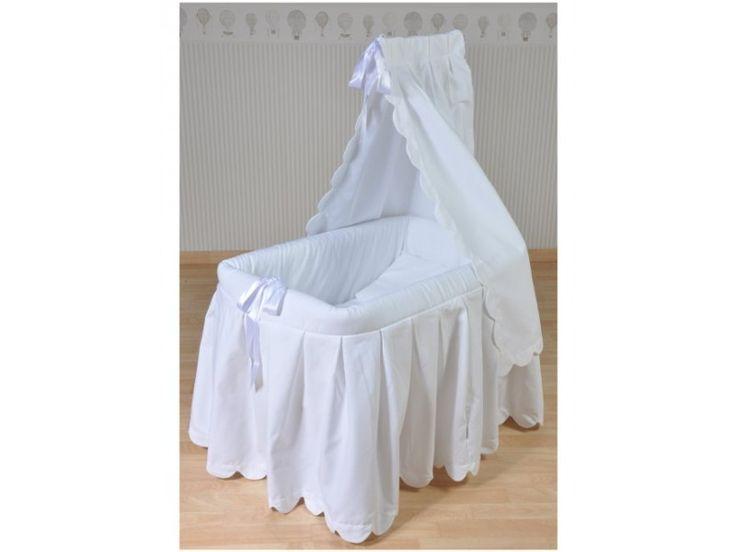 berceau b b blanc ciel de lit habillage coton noeuds satin s blancs livr inclus. Black Bedroom Furniture Sets. Home Design Ideas
