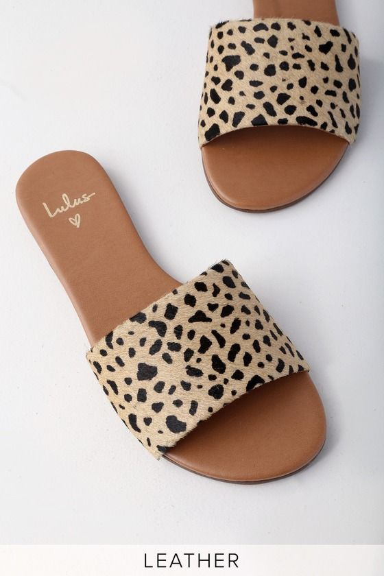 fd43f1fd6fef We are loving the the Lulus Tara Leopard Calf Hair Leather Slide Sandals!  Soft, genuine calf hair leather shapes the wide toe strap of these slides.