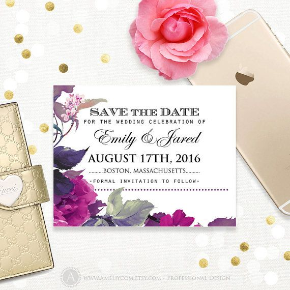 Printable Save the Date Lilac & Purple Violet Floral Wedding Save the Date Postcard Template DIY INSTANT DOWNLOAD Editable for print at home