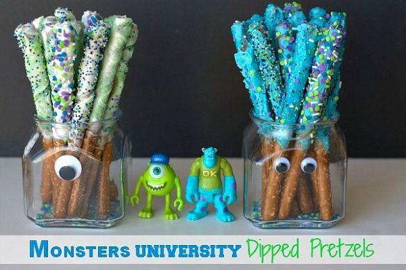 Monsters University, Monsters inc university, disney movie, disney pictures, monsters university characters, monsters u, Dipped Pretzel Rods, Chocolate Dipped Pretzels