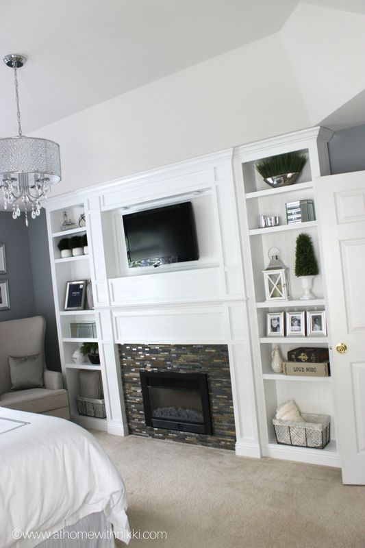 Just simply gorgeous built in with an electric fireplace. Must create this  soon!! Bedroom FireplaceBedroom TvMaster ...