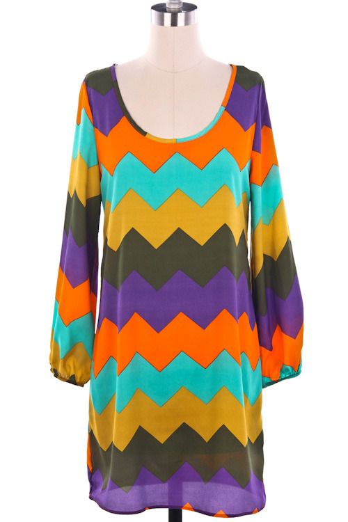 Orange Chevron Dress