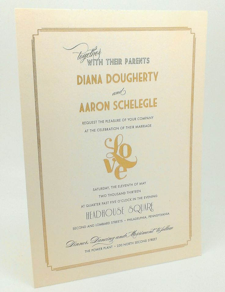 This is one of our favorite invitations we designed! Gold Foil Stamping with a playful twist on the LOVE statue!