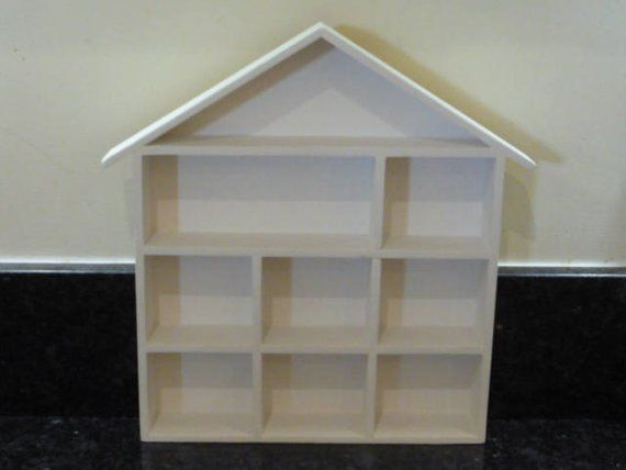 Hand Painted White Wooden House Shaped Display Shelves Unit Suitable To Display Small Ornaments Dolls House Miniature White Shadow Box Shelves Display Shelves