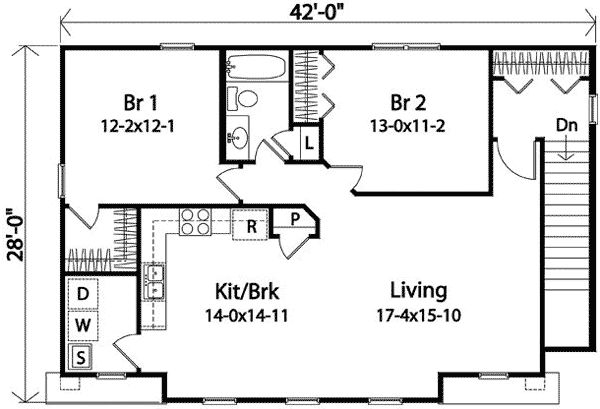 Two Bedroom Carriage House Plan- make it one bedroom, laundry room becomes pantry and space where br 2 would've been becomes the bathroom/ laundry room... I should just make the plans myself.